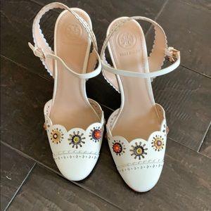 Tory Burch flower eyelet heels